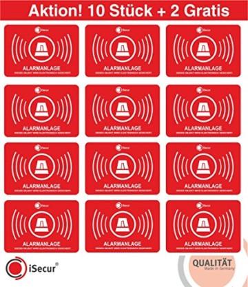 """10 Aufkleber """"Alarm"""", iSecur, alarmgesichert, 5x3,5cm, Art. hin_047_10er_außen, 2 Aufkleber gratis, Hinweis auf Alarmanlage, außenklebend für Fensterscheiben, Haus, Auto, LKW, Baumaschinen -"""