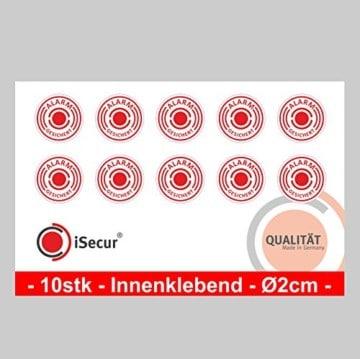 """10 Stück Aufkleber """"Alarm"""", iSecur, alarmgesichert, Durchmesser 20mm, Art. hin_004_20mm_innen, Hinweis auf Alarmanlage, innenklebend für Fensterscheiben, Haus, Auto, LKW, Baumaschinen -"""