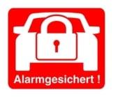 """2 Stück Aufkleber """"Alarm"""", iSecur, alarmgesichert, 30x30mm, Art. hin_068_innen, Hinweis auf Alarmanlage, innenklebend für Fensterscheiben, Haus, Auto, LKW, Baumaschinen -"""