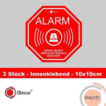 """3 Stück Aufkleber """"Alarm"""", iSecur, alarmgesichert, 100x100mm, Art. hin_167_innen, Hinweis auf Alarmanlage, innenklebend für Fensterscheiben, Haus, Auto, LKW, Baumaschinen -"""