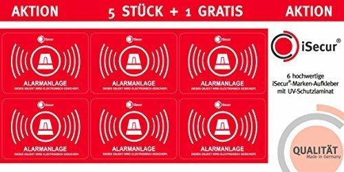 """5 Stück Aufkleber """"Alarm"""", iSecur, alarmgesichert, 50x35mm, Art. hin_047_5er_außen, Hinweis auf Alarmanlage, außenklebend für Fensterscheiben, Haus, Auto, LKW, Baumaschinen -"""