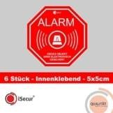 """6 Stück Aufkleber """"Alarm"""", iSecur, alarmgesichert, 50x50mm, Art. hin_166_innen, Hinweis auf Alarmanlage, innenklebend für Fensterscheiben, Haus, Auto, LKW, Baumaschinen -"""